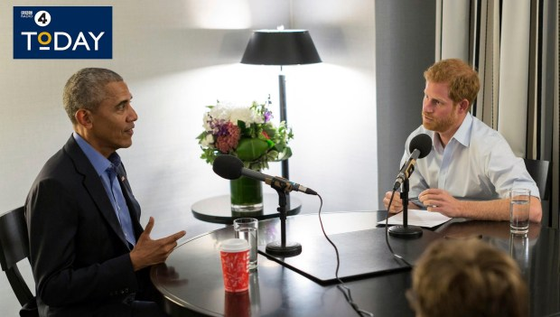 In this undated BBC handout photo made available on Wednesday, Dec. 27, 2017, former President of the United States Barack Obama, left is interviewed by Britain's Prince Harry for the BBC Radio 4 Today programme that he guest edited. Obama told Prince Harry in an interview broadcast Wednesday, Dec. 27, 2017, that he felt serene the day he left the White House despite the sense that much important work remained unfinished. (BBC Radio 4 Today/PA via AP)