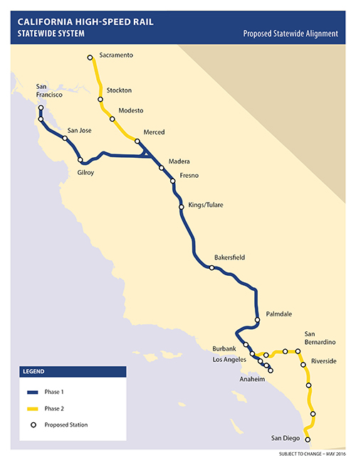 Map of California high-speed rail plan. (Source: California High-Speed Rail Authority.)