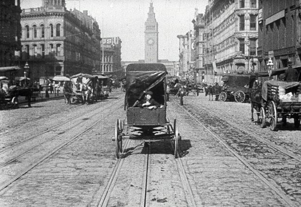 "A still from the Miles Brothers' film ""A Trip Down Market Street"" (1906). Courtesy of Rick Prelinger)"