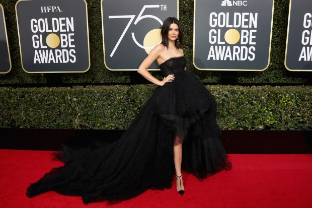 BEVERLY HILLS, CA - JANUARY 07: Kendall Jenner attends The 75th Annual Golden Globe Awards at The Beverly Hilton Hotel on January 7, 2018 in Beverly Hills, California. (Photo by Frederick M. Brown/Getty Images)