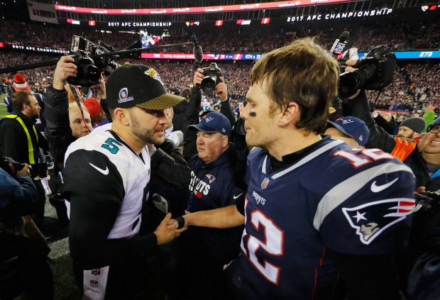Tom Brady #12 of the New England Patriots shakes hands with Blake Bortles #5 of the Jacksonville Jaguars after the AFC Championship Game at Gillette Stadium on January 21, 2018 in Foxborough, Massachusetts. (Photo by Kevin C. Cox/Getty Images)