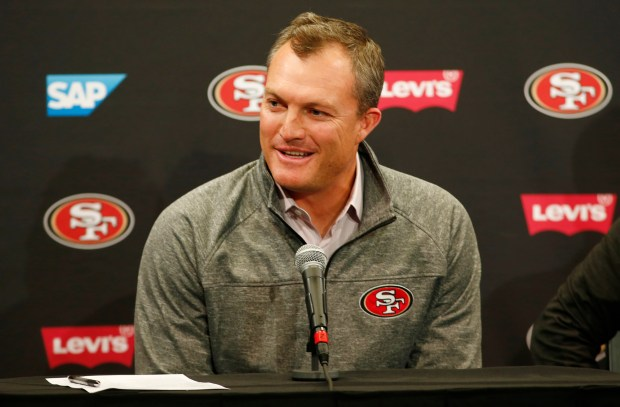 John Lynch, 49ers general manager, talks about the future of the team during a season-ending press conference at Levi's Stadium in Santa Clara, California, on Tuesday, Jan. 2, 2018. (Gary Reyes/ Bay Area News Group)