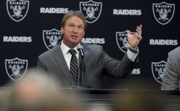 Jon Gruden answers questions from the media during the Oakland Raiders introduce him as their new head coach at the team facility in Alameda, Calif., on Tuesday, Jan. 9, 2018.(Dan Honda/Bay Area News Group)