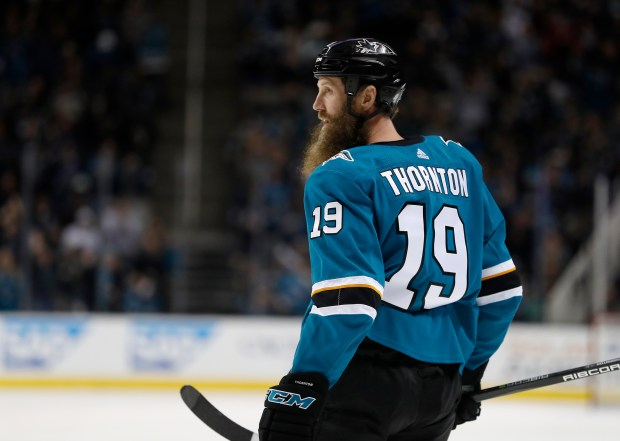 San Jose Sharks' Joe Thornton (19) is photographed after scoring goal against the Vancouver Canucks in the first period of their NHL game at the SAP Center in San Jose, California on Thursday, Dec. 21, 2017. (Josie Lepe/Bay Area News Group)