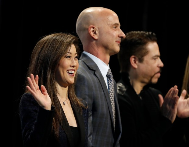 Kristi Yamaguchi, Brian Boitano and Rudy Galindo wave to the crowd before the Championship Ladies Short Program for the 2018 US Figure Skating Championships at the SAP Center in San Jose, Calif., on Wednesday, January 3, 2018. (Nhat V. Meyer/Bay Area News Group)