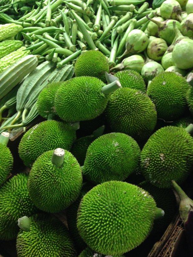 Breadfruit, or ulu, in a Honolulu Chinatown market.(Photo: Jackie Burrell/Staff)