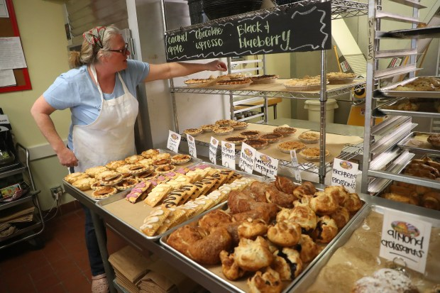 Employee-owner Carolyn Berke works in the Niles Pie Company on Wednesday, Jan. 10, 2018, in Union City, Calif. Berke, who founded The Niles Pie Company made the transition from a single owner to a employee-owned buisness model to help expand and prolong the company. (Aric Crabb/Bay Area News Group)