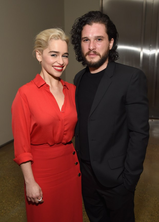 LOS ANGELES, CA - JANUARY 06: Emilia Clarke (L) and Kit Harington attend the 7th Annual Sean Penn & Friends HAITI RISING Gala benefiting J/P Haitian Relief Organization on January 6, 2018 in Hollywood, California. (Photo by Michael Kovac/Getty Images for for J/P HRO Gala)