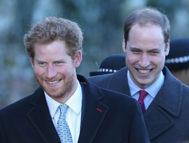 KING'S LYNN, ENGLAND - DECEMBER 25: Prince William, Duke of Cambridge and Prince Harry leave the Christmas Day service at Sandringham on December 25, 2013 in King's Lynn, England. (Photo by Chris Jackson/Getty Images)
