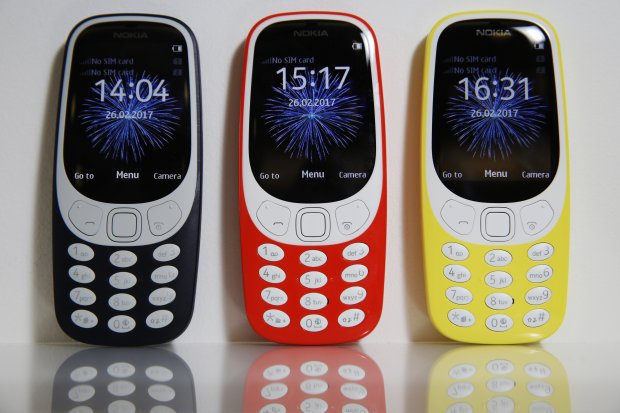 Nokia 3310 mobile phones on display during a product launch in London onFeb. 24, 2017. (MUST CREDIT: Luke MacGregor/Bloomberg)