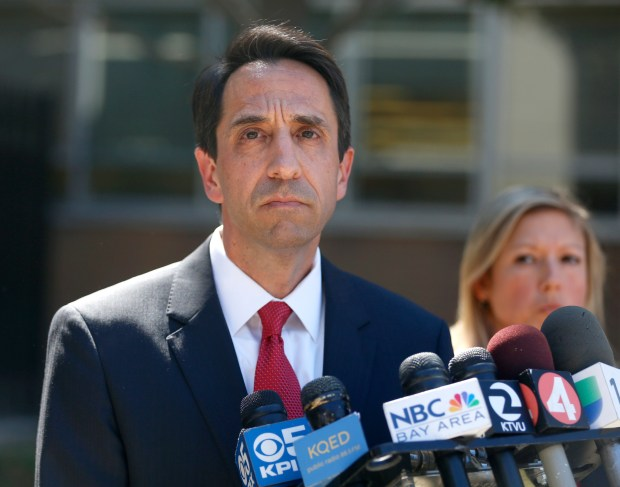 Santa Clara County District Attorney Jeff Rosen speaks to the media outside of the Santa Clara Hall of Justice in San Jose, Calif., on Tuesday, Sept. 8, 2015. Correctional officers Jereh Lubrin, Rafael Rodriguez, and Matthew Farris were formally arraigned for murder in the death of Michael Tyree during their first court appearance Tuesday afternoon, they did not enter pleas. (Nhat V. Meyer/Bay Area News Group)