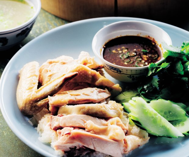 "James Syhabout's KMG -- a poached chicken and rice dish that has attracteda cult following -- is featured in his new ""Hawker Fare"" cookbook. (Courtesy of Eric Wolfinger)"