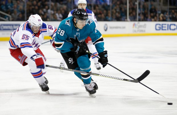 San Jose Sharks' Timo Meier (28) controls the puck against New York Rangers' Nick Holden (55) in the first period at the SAP Center in San Jose, Calif., on Thursday, January 25, 2018. (Nhat V. Meyer/Bay Area News Group)