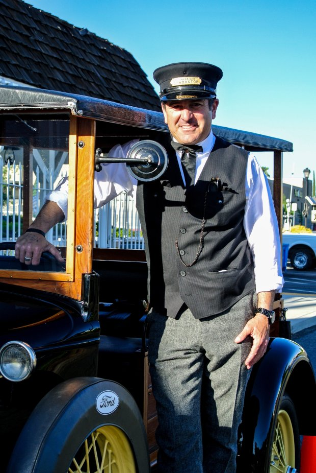 Bill Glasser, dressed as a conductor for the vintage train that once was the centerpiece of San Jose's long-shuttered Frontier Village amusement park, says the future of the train is uncertain after it crashed into a minivan Jan. 7, 2017, at the Burke Junction shopping center he owns in Cameron Park, Ca. (photo courtesy of Bill Glasser.)