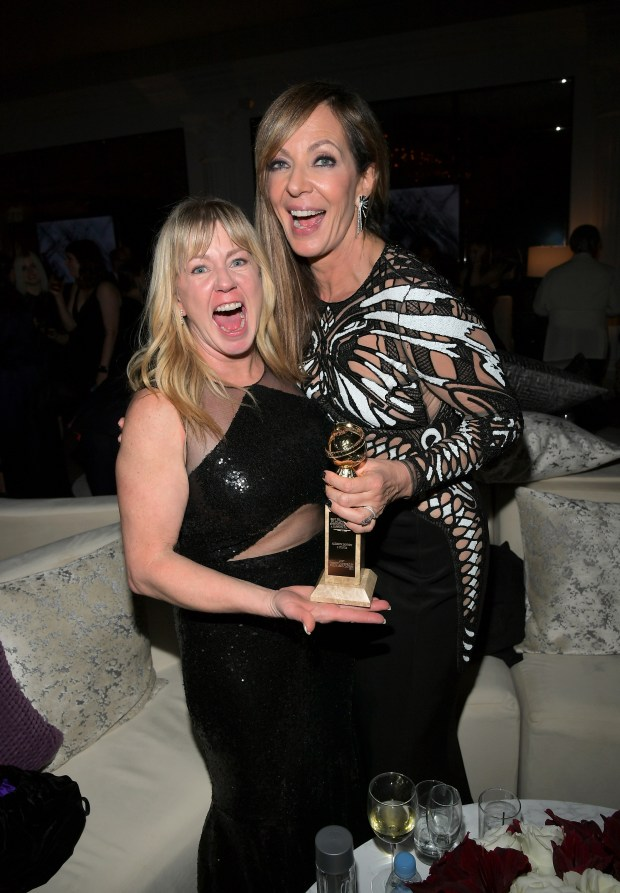 BEVERLY HILLS, CA - JANUARY 07: Figure Skater Tonya Harding (L) and actor Allison Janney attend the 2018 InStyle and Warner Bros. 75th Annual Golden Globe Awards Post-Party at The Beverly Hilton Hotel on January 7, 2018 in Beverly Hills, California. (Photo by Charley Gallay/Getty Images for InStyle)