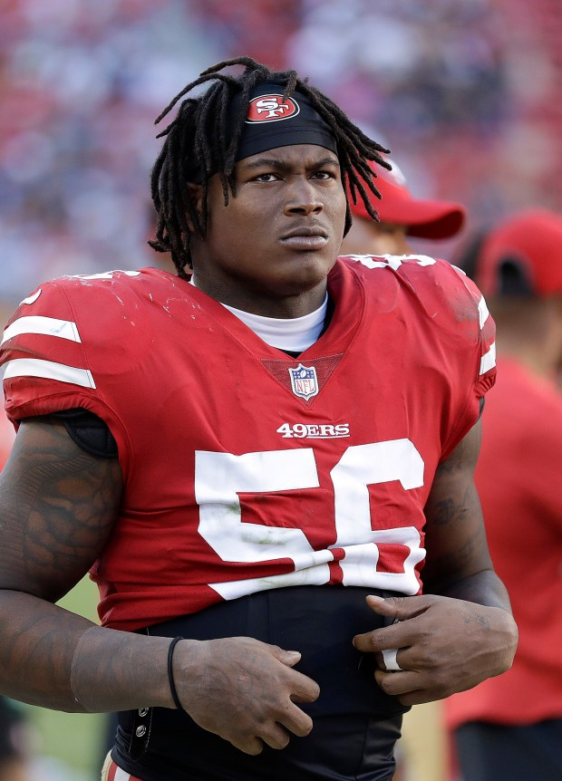 In this Oct. 22, 2017 file photo, San Francisco 49ers linebacker Reuben Foster (56) stands on the sideline during the second half of an NFL football game against the Dallas<p>Article source: <a href=
