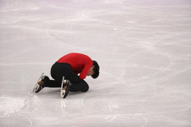 GANGNEUNG, SOUTH KOREA - FEBRUARY 17: Vincent Zhou of the United States reacts after competing during the Men's Single Free Program on day eight of the PyeongChang 2018 Winter Olympic Games at Gangneung Ice Arena on February 17, 2018 in Gangneung, South Korea. (Photo by Robert Cianflone/Getty Images)