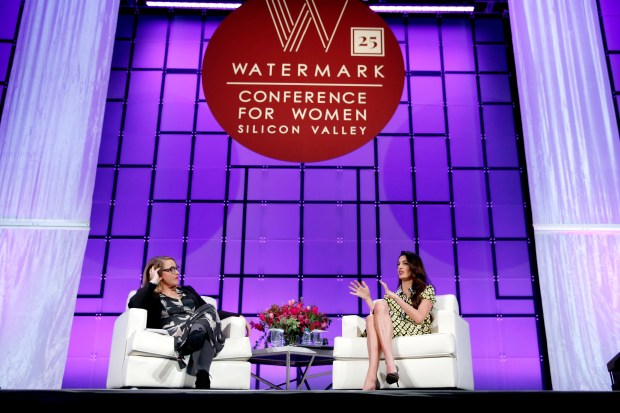 SAN JOSE, CA - FEBRUARY 23: NPR host Kelly McEvers (L) and International human rights attorney Amal Clooney speak onstage at the Watermark Conference for Women 2018 at San Jose Convention Center on February 23, 2018 in San Jose, California. (Photo by Marla Aufmuth/Getty Images for Watermark Conference for Women 2018)