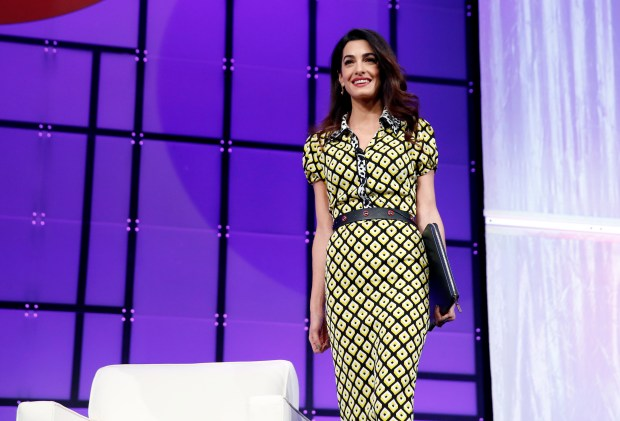 SAN JOSE, CA - FEBRUARY 23: International human rights attorney Amal Clooney walks onstage at the Watermark Conference for Women 2018 at San Jose Convention Center on February 23, 2018 in San Jose, California. (Photo by Marla Aufmuth/Getty Images for Watermark Conference for Women 2018)