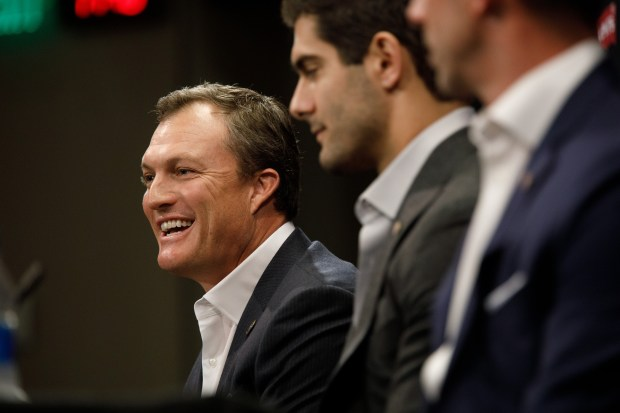 San Francisco 49ers general manager John Lynch speaks during a press conference on Feb. 9, 2018 at Levi's Stadium in Santa Clara. (Dai Sugano/Bay Area News Group)