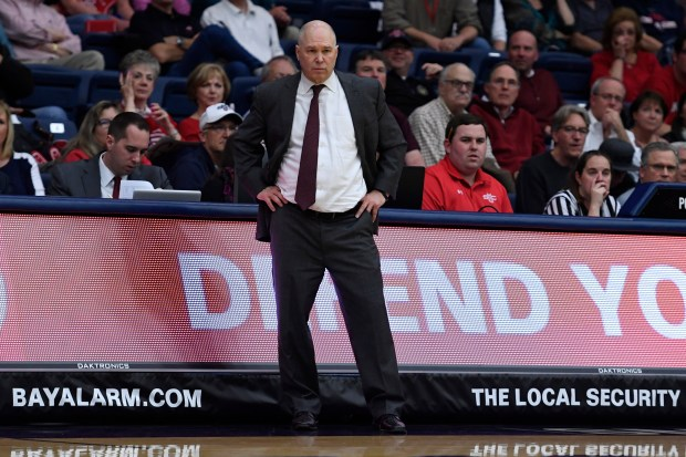 Saint Mary's head coach Randy Bennett stands on the sideline while playing against the San Francisco Dons in the second half of their game at McKeon Pavilion at Saint Mary's College in Moraga, Calif. on Thursday, Feb. 1, 2018. Saint Mary's defeated San Francisco Dons 79-43. (Jose Carlos Fajardo/Bay Area News Group)