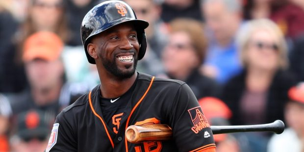 San Francisco Giants Andrew McCutchen is photographed during their game against the Milwaukee Brewers at Scottsdale Stadium on Feb. 23, 2018, in Scottsdale, Ariz. (Aric Crabb/Bay Area News Group)