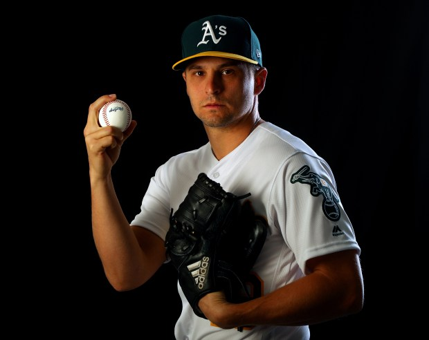 Oakland Athletics pitcher Kendall Graveman is photographed at Hohokam Stadium on Thursday, Feb. 22, 2018, in Mesa, Ariz. (Aric Crabb/Bay Area News Group)