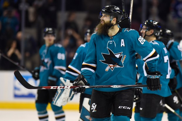 San Jose Sharks' Brent Burns (88) skates on the ice after defeating the Vancouver Canucks during their NHL game at the SAP Center in San Jose, Calif., on Thursday, Feb. 15, 2018. The San Jose Sharks defeated the Vancouver Canucks 4-1. (Jose Carlos Fajardo/Bay Area News Group)