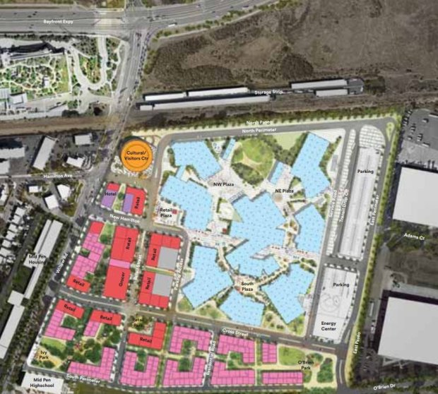 Facebook brought its proposal to construct Willow Village between Willow Road and University Avenue and Bayfront Expressway and O'Brien Drive in Menlo Park to the city this week. Planned offices are shown in light blue; retail in red; housing units in pink; hotel rooms in purple; parking spaces in gray; and a cultural/visitor center in orange. (City of Menlo Park)