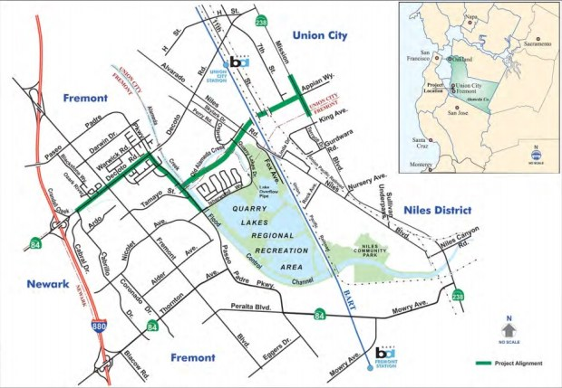 The proposed new roadway would connect Mission Boulevard in Union City to Interstate 880 in Fremont. (Courtesy Alameda CTA)
