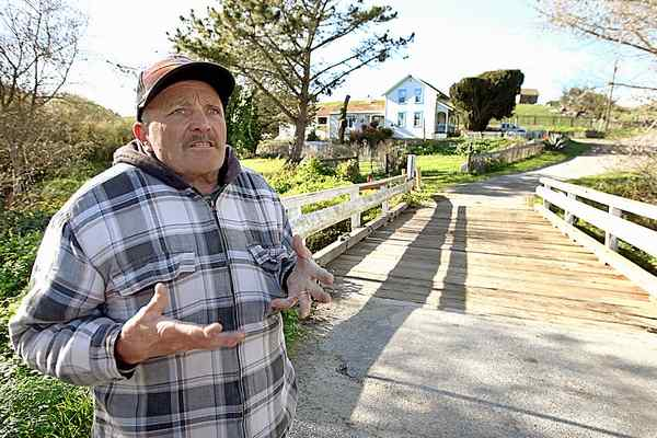 Roland 'Beaver' Edwards, co-owner of the Coastside Ranch which leads to Red, White, and Blue Beach, hopes the prospective buyer of the 175-acre ranch will conserve the property as a working ranch. Asking price is $35 million. (Dan Coyro -- Santa Cruz Sentinel)
