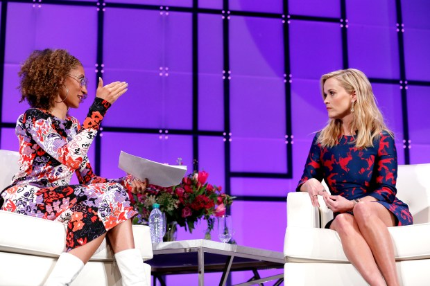 SAN JOSE, CA - FEBRUARY 23: Journalist Elaine Welteroth (L) and actor/producer/activist Reese Witherspoon speak onstage at the Watermark Conference for Women 2018 at San Jose Convention Center on February 23, 2018 in San Jose, California. (Photo by Marla Aufmuth/Getty Images for Watermark Conference for Women 2018)