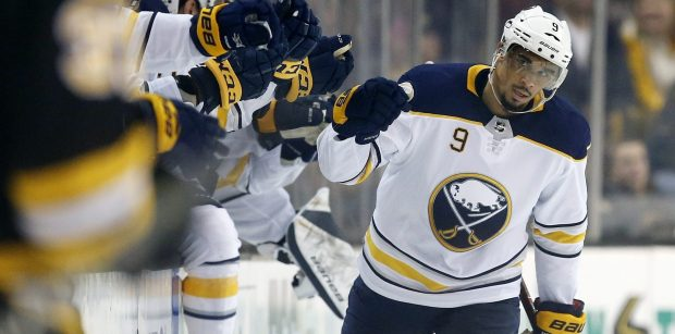 Buffalo Sabres' Evander Kane (9) celebrates his goal during the second period of an NHL hockey game against the Boston Bruins, in Boston. Kane acknowledges it's a matter of when he'll be dealt and not if before the NHL's trading deadline hits on Monday. Kane is in the final year of his contract and not expected to be re-signed by the Sabres this offseason. (AP Photo/Michael Dwyer, File)