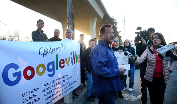Homeless advocate Scott Wagers speaks at a press conference in front of a Googleville sign protesting a homeless camp sweep at the Highway 101-280 interchange by the California Highway Patrol, Monday morning, Feb. 5, 2017, in San Jose, Calif. (Karl Mondon/Bay Area News Group)