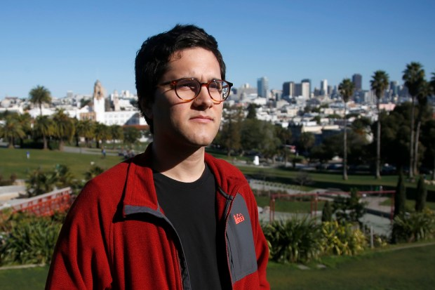 Joe Rivano Barros, 25, a renter in San Francisco's Mission District who shares a single family home with nine other roommates, heads to work at YIMBY, a pro-housing group Thursday, Feb. 15, 2018, in San Francisco, Calif. (Karl Mondon/Bay Area News Group)
