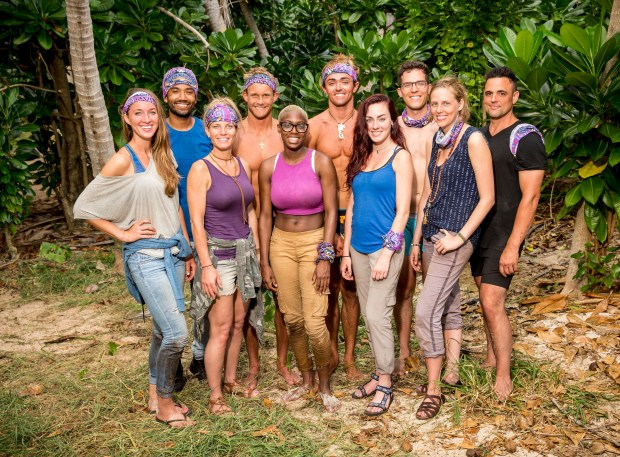 'Survivor: Ghost Island' Naviti Tribe members (Back Row L-R) Wendell Holland, Chris Noble, Sebastian Noel, Bradley Kleihege and Domenic Abbate (Front Row L-R) Morgan Ricke, Angela Perkins, Desiree Afuye, Chelsea Townsend, and Kellyn Bechtold. (Robert Voets/CBS)