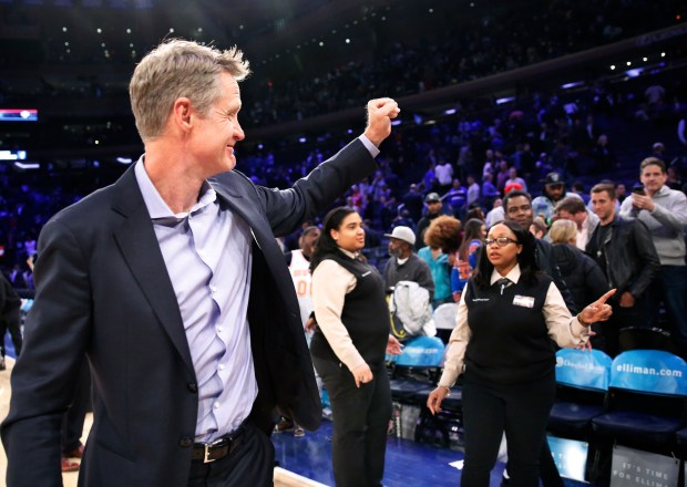 Golden State Warriors head coach Steve Kerr praised his players for being good NBA ambassadors. (AP Photo/Kathy Willens)