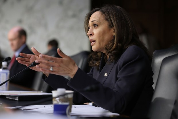 WASHINGTON, DC - MARCH 14: Senate Judiciary Committee member Sen. Kamala Harris (D-CA) questions witnesses during a hearing about the massacre at Marjory Stoneman Douglas High School in the Hart Senate Office Building on Capitol Hill March 14, 2018 in Washington, DC. Federal Bureau of Investigation Acting Deputy Director David Bowdich testified that the FBI could have and should have done more to stop the school shooter Nikolas Cruz after it receieved several tips about him. (Photo by Chip Somodevilla/Getty Images)