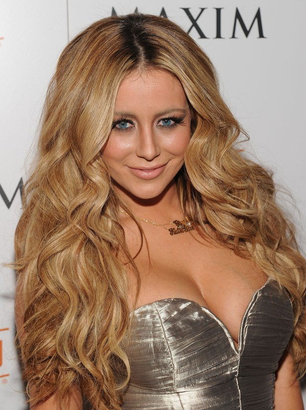 NEW YORK, NY - FEBRUARY 15: Aubrey O'Day attends Maxim's March Issue party with Michelle Trachtenberg at SL on February 15, 2011 in New York City. (Photo by Dimitrios Kambouris/Getty Images For Maxim)