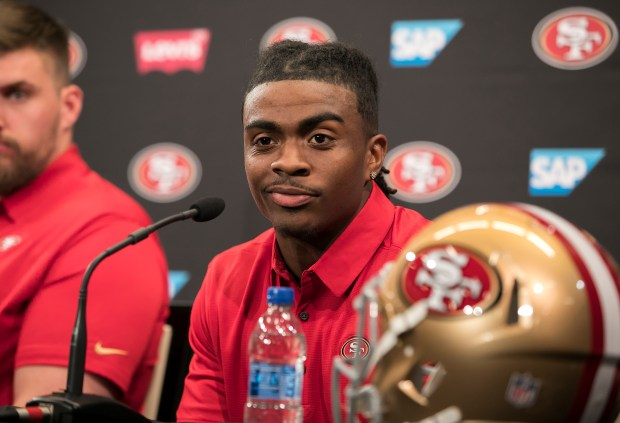 New San Francisco 49ers running back Jerick McKinnon speaks at a press conference after being introduced by General Manager John Lynch and Head Coach Kyle Shanahan at Levi's Stadium in Santa Clara, California, on Thursday, March 15, 2018. (LiPo Ching/Bay Area News Group)