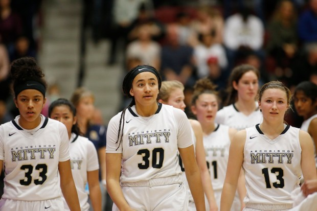 Archbishop Mitty's Karisma Ortiz (33), left, Haley Jones (30), center, Ania McNicholas (13), right, walk off the court after losing their CIF NorCal Open Division girls championship game at Leavey Center in Santa Clara, Calif., on Saturday, March 17, 2018. Pinewood won the game 78-67 over Mitty. (Randy Vazquez/ Bay Area News Group)