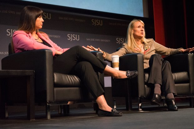 Brenda Tracy, left, and Nancy Hogshead-Makar held a conversation about therape culture and football Wednesday, March 14, 2018 during a symposium at the Hammer Theater in San Jose. Tracy, 45, told her story about being raped by four men, three college football players, in 1998 in Oregon when speaking to the San Jose State football team Tuesday night. James Tensuan/San Jose State University Can use online Can use in other DFM publications