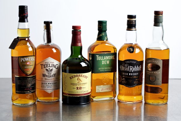 Irish whiskeys from Powers, Teeling, Redbreast, Tullamore D.E.W., DeadRabbit and Tyrconnell. MUST CREDIT: Photo by Deb Lindsey for The Washington Post.