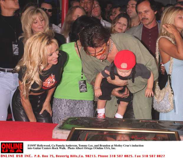 May 20, 1997 Hollywood Pamela Anderson, Tommy Lee, Brandon at Motley Crue's Walk Walk induction on Sunset Blvd.