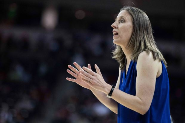 California head coach Lindsay Gottlieb communicates with players during the second half of game in the first-round of the NCAA women's college basketball tournament, Friday, March 16, 2018, in Columbia, S.C. Virginia defeated California 68-62. (AP Photo/Sean Rayford)
