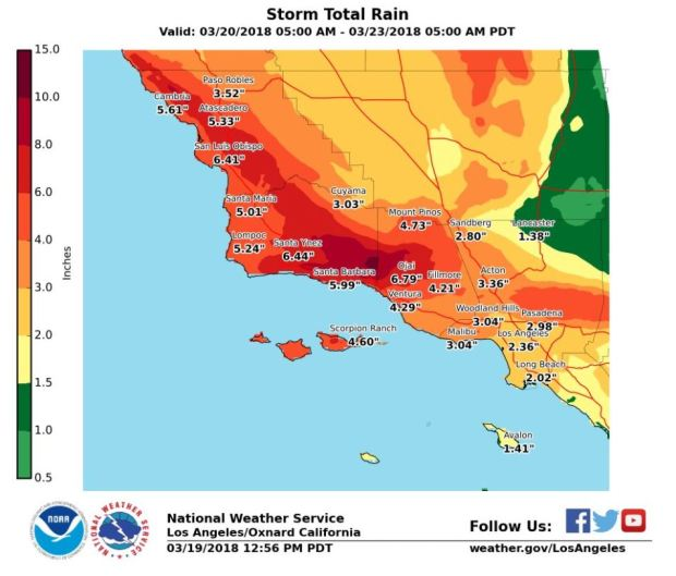 Three-day rainfall estimates for Southern California, from the National Weather Service.