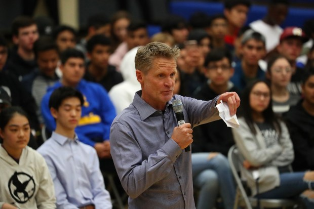 Golden State Warriors head coach Steve Kerr takes part in a town hall meeting about gun violence at Newark Memorial High School on Monday, March 12, 2018, in Newark, Calif. (Aric Crabb/Bay Area News Group)