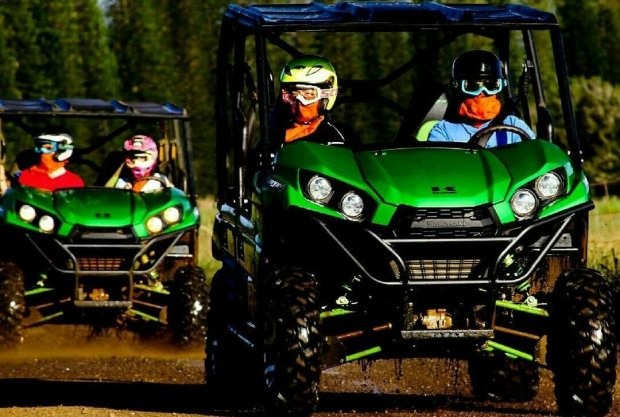Helmets, protective eye gear and bandanas are required for passengers anddrivers during an ATV ride with Kipu Ranch Adventures on Kauai. (Courtesy of Kipu Ranch Adventures)