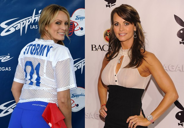 LEFT - Adult film actress/director Stormy Daniels (Ethan Miller/Getty Images) RIGHT - Former Playboy playmate Karen McDougal (Dimitrios Kambouris/Getty Images)
