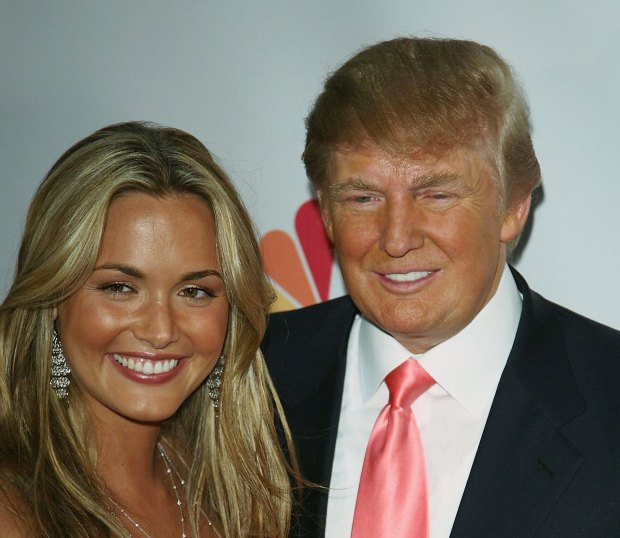 """Vanessa Trump (L) and Donald Trump arrive at the Season Five Finale of """"The Apprentice"""" at the California Market Center on June 5, 2006 in Los Angeles, California. (Photo by Michael Buckner/Getty Images)"""